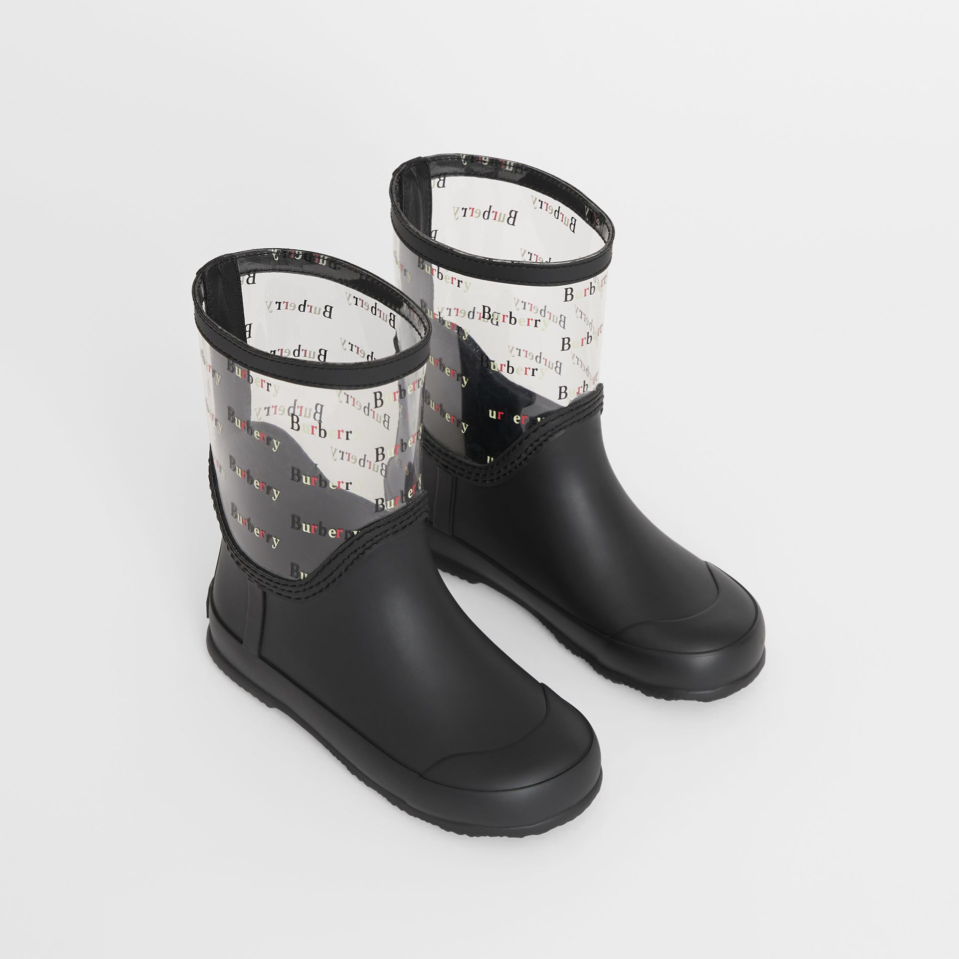 Logo Print Rubber Rain Boots in Black | Burberry - gallery image 0