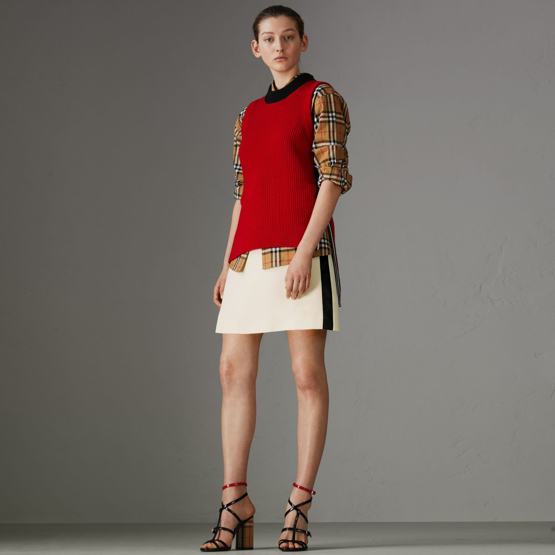 Sport Stripe Wool Silk Skirt in Off White - Women | Burberry - gallery image 0