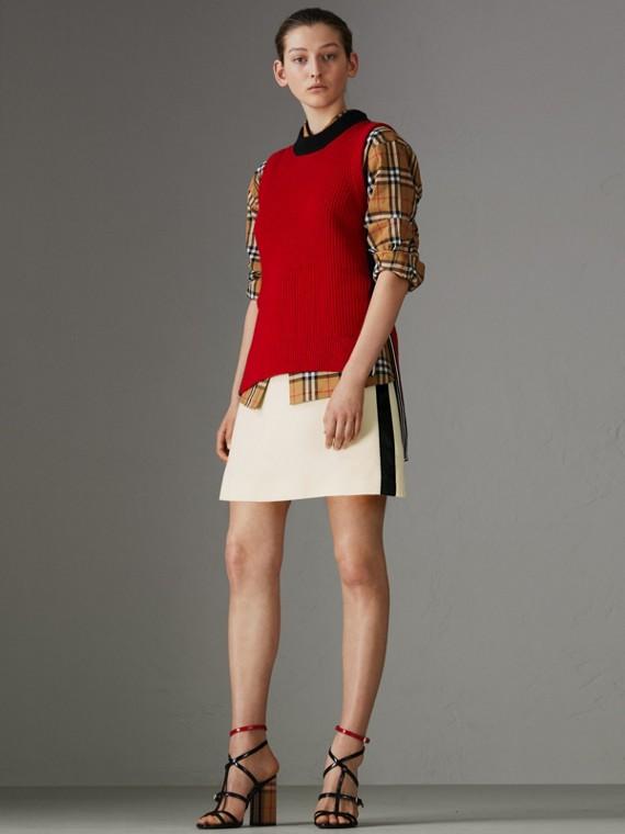 Rock aus Wolle und Seide mit sportlichem Streifenmuster (Cremefarben)