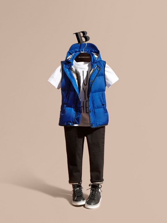 Down-filled Hooded Gilet Brilliant Blue