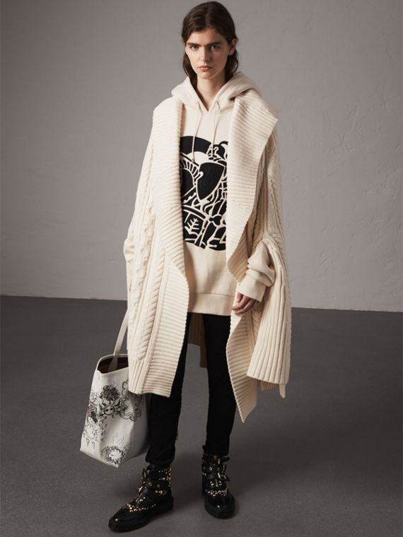 Cable Knit Wool Cashmere Poncho in Natural White
