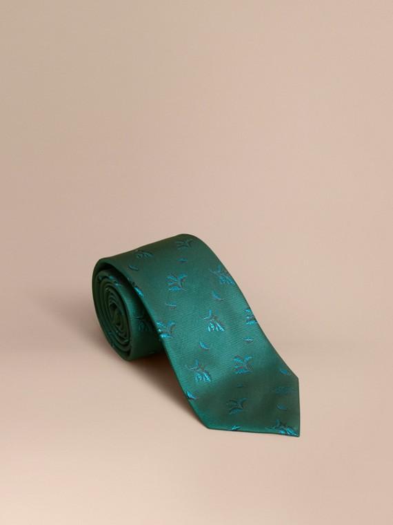 Modern Cut Leaf Jacquard Silk Tie in Teal