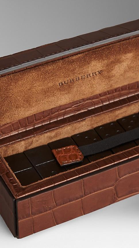 Argile Jeu de dominos avec étui en cuir d'alligator noirci - Image 3