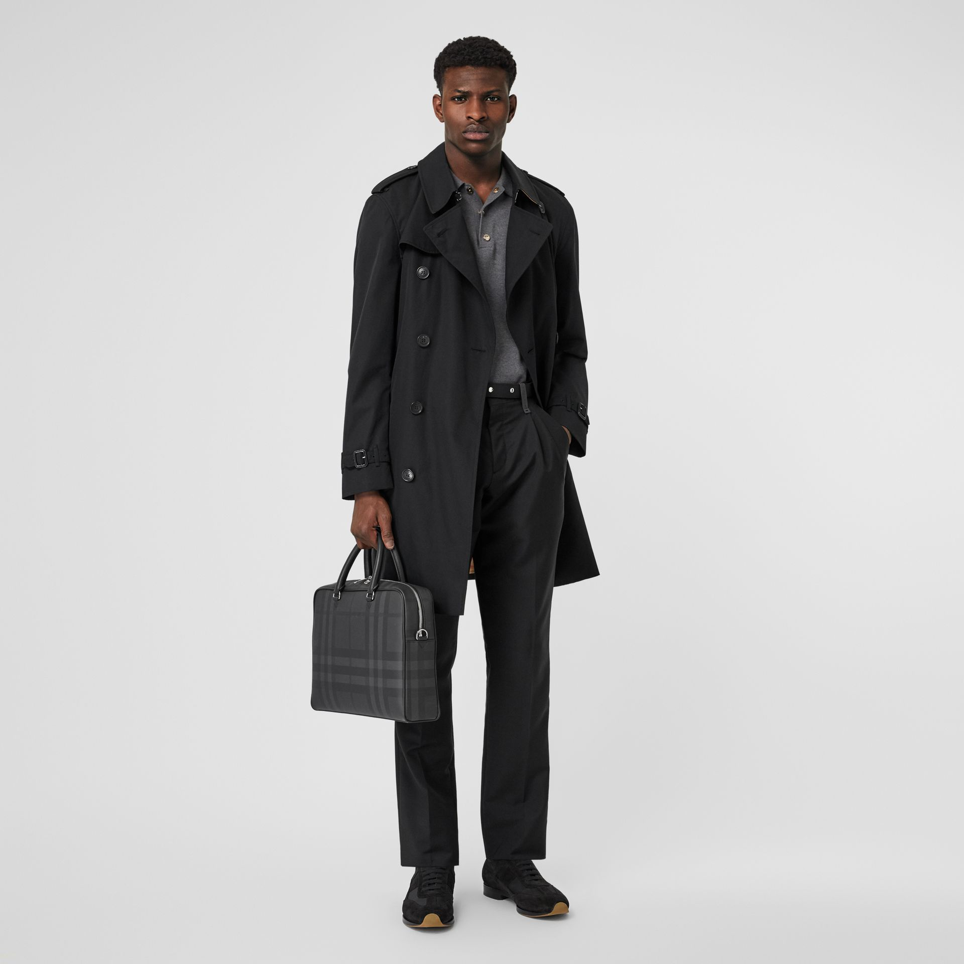 London Check and Leather Briefcase in Dark Charcoal - Men | Burberry United Kingdom - gallery image 5
