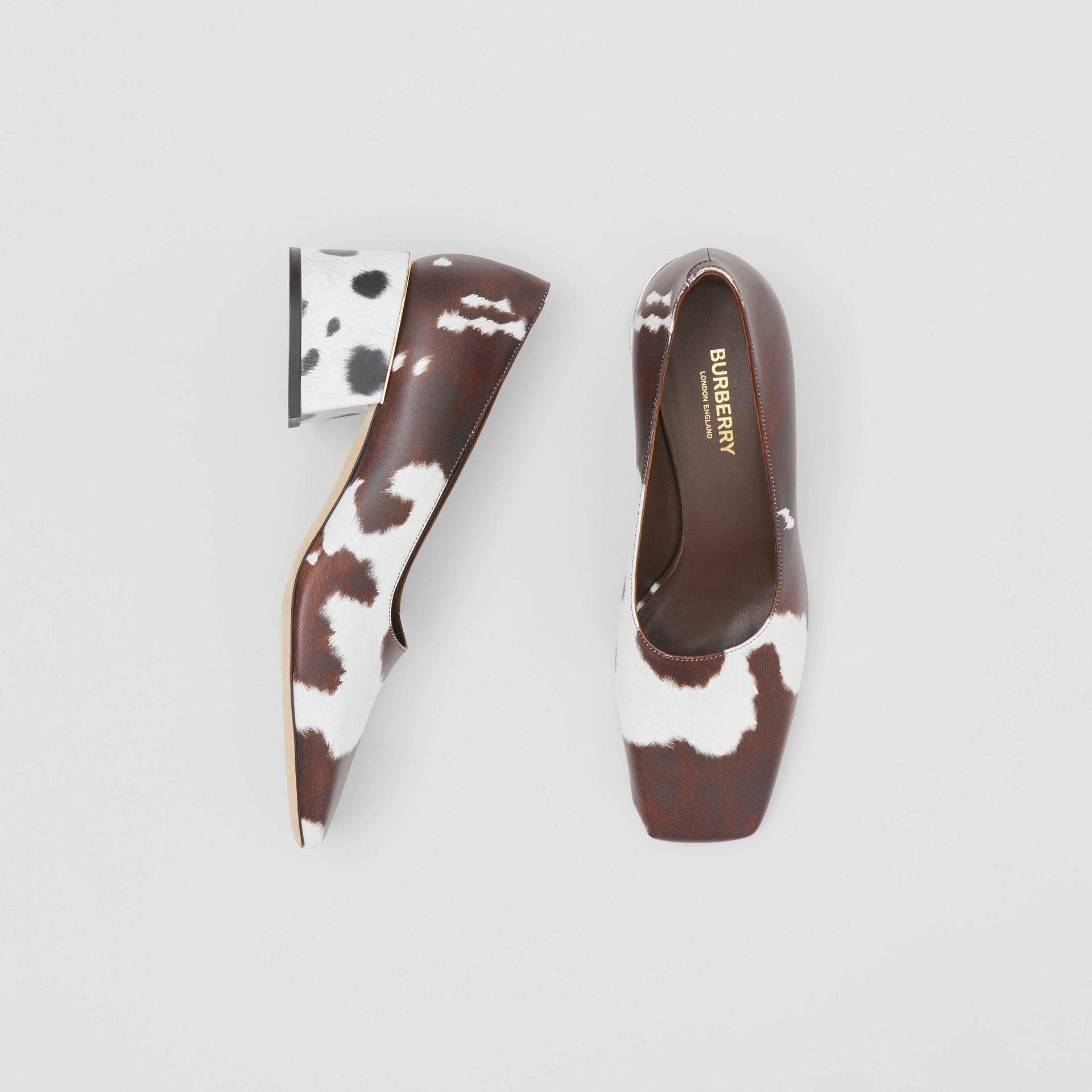 Animal Print Leather Block-heel Pumps in Cow - Women | Burberry - gallery image 0