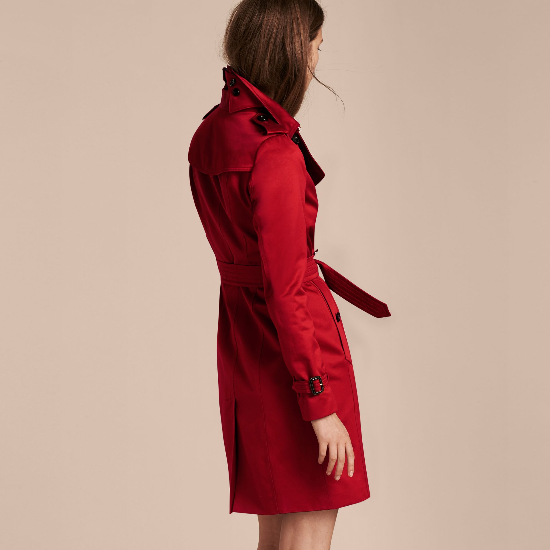 Parade red Cotton Sateen Trench Coat - gallery image 3