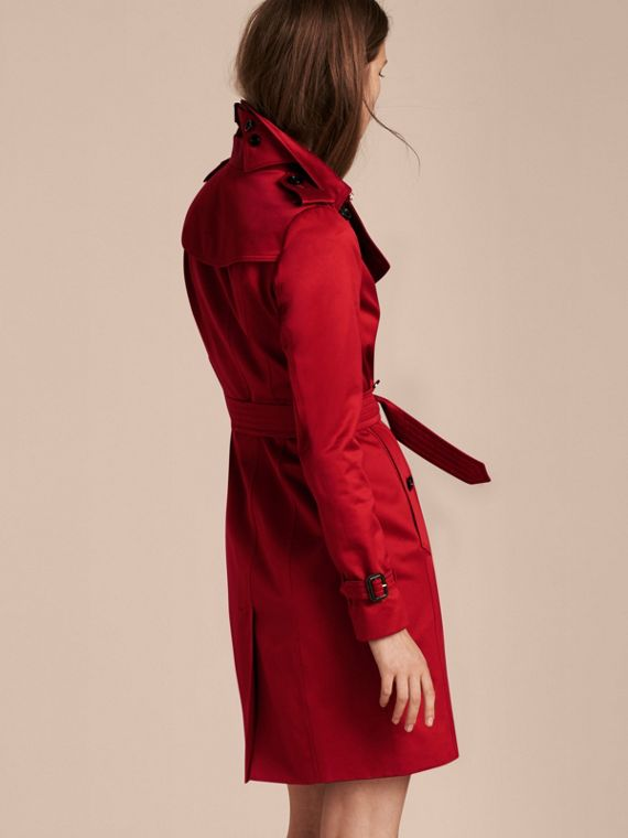 Parade red Cotton Sateen Trench Coat - cell image 2
