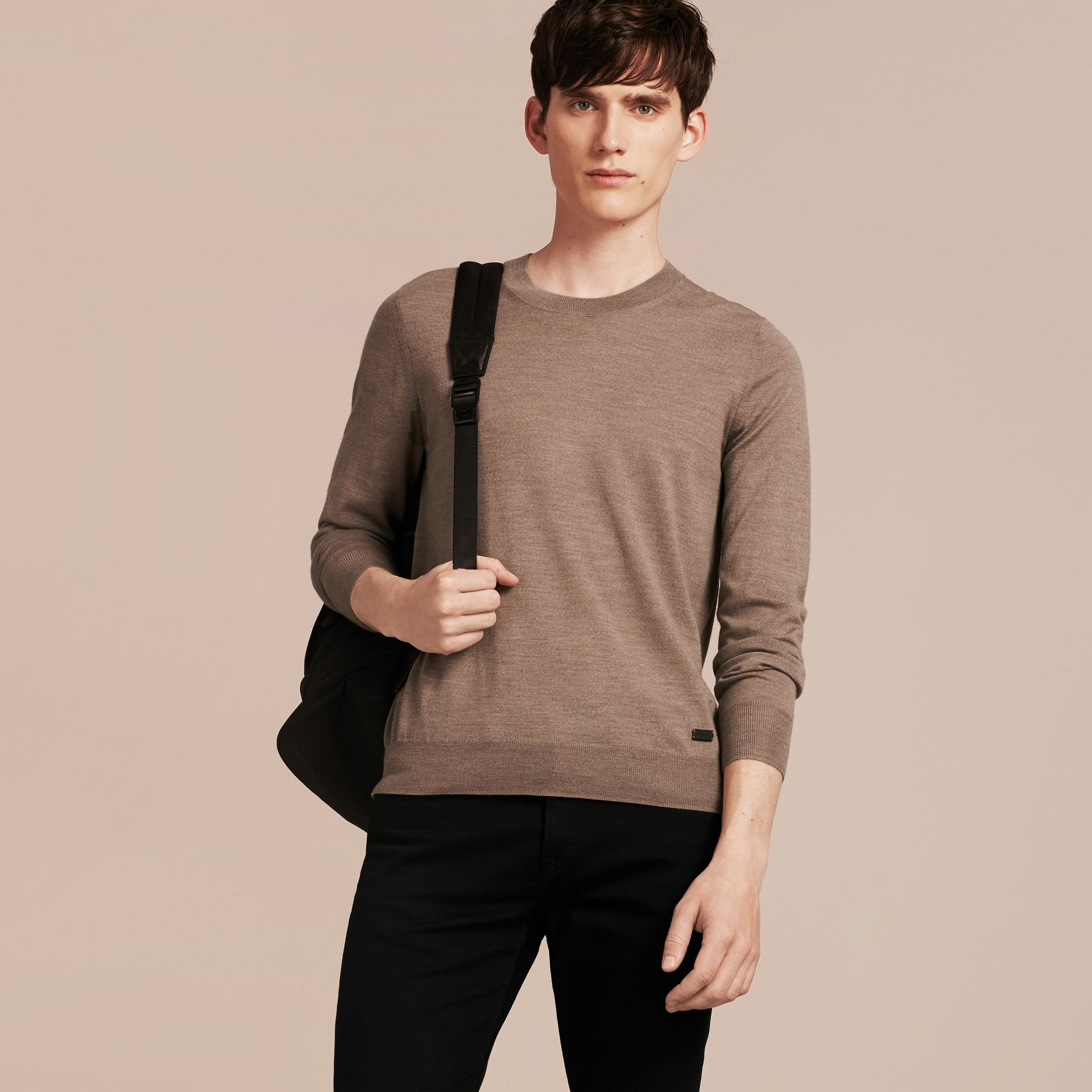 Taupe grey melange Crew Neck Merino Wool Sweater Taupe Grey Melange - gallery image 6