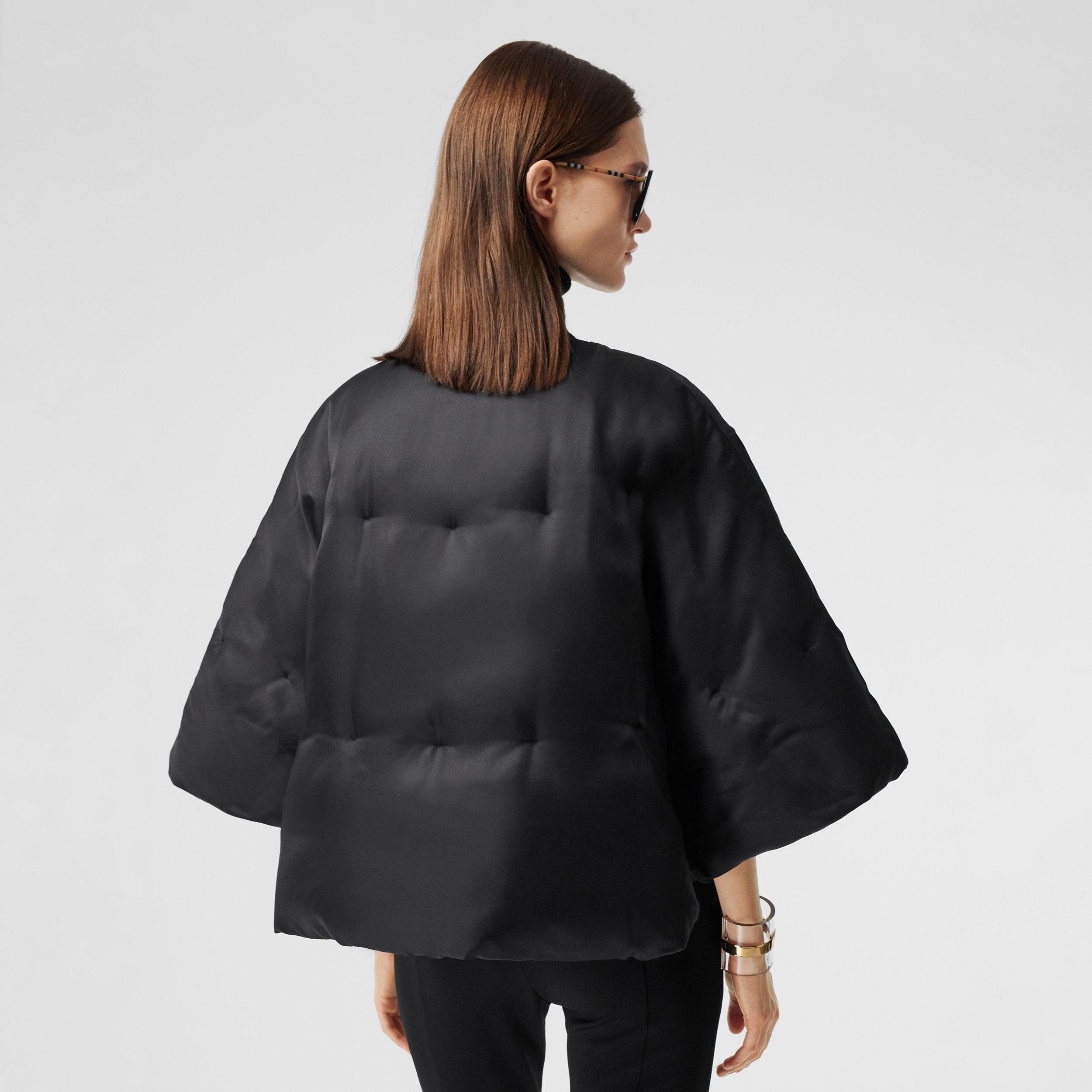Silk Twill Puffer Cape in Black - Women | Burberry - 3