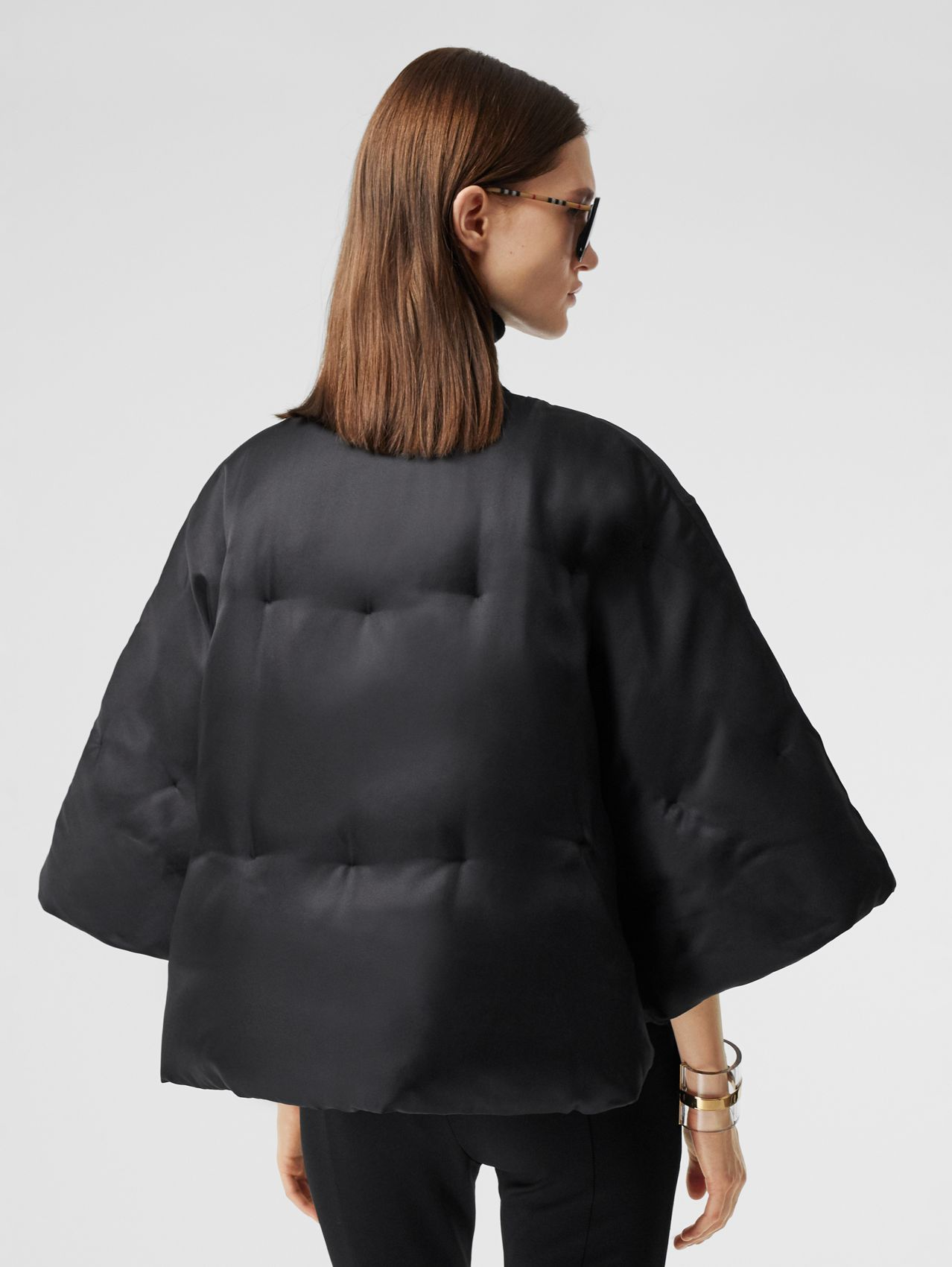 Silk Twill Puffer Cape in Black