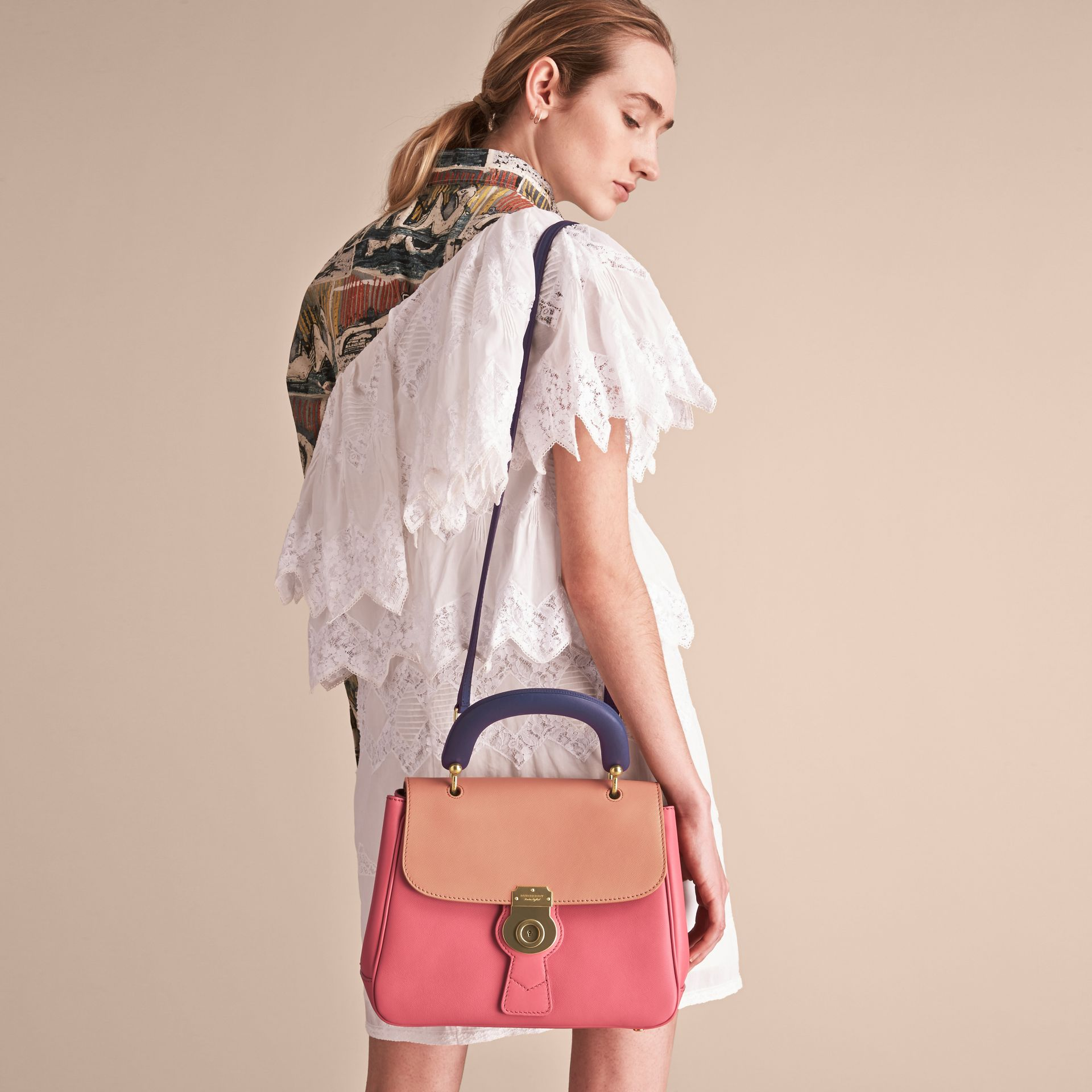 The Medium DK88 Top Handle Bag Blossom Pink/pale Clementine - gallery image 5