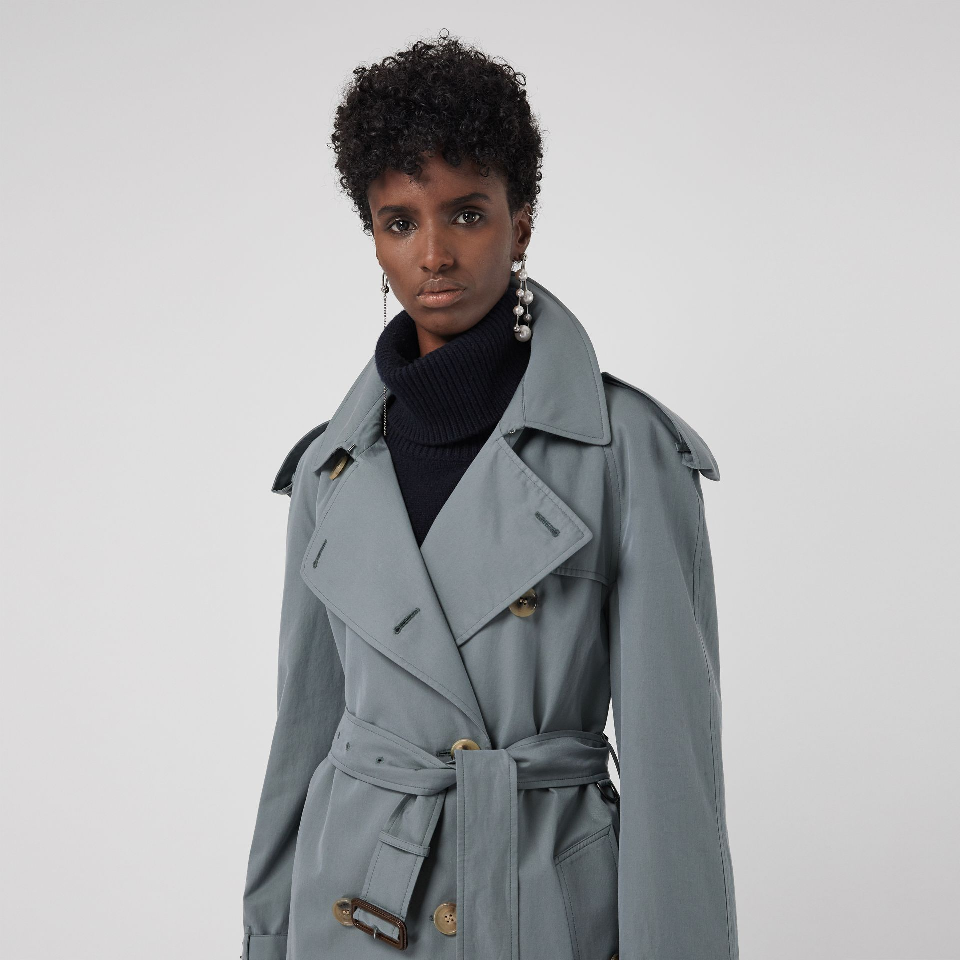 Wool-lined Tropical Gabardine Trench Coat in Dusty Blue - Women | Burberry United Kingdom - gallery image 1