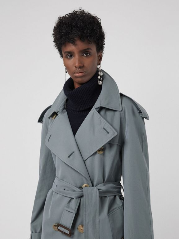 Wool-lined Tropical Gabardine Trench Coat in Dusty Blue - Women | Burberry United Kingdom - cell image 1