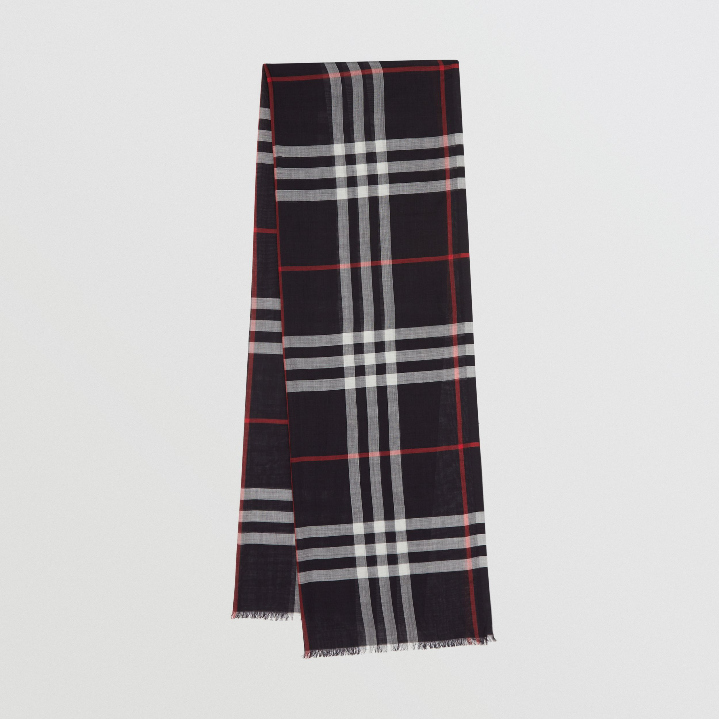 Lightweight Check Wool Silk Scarf in Navy | Burberry - 1
