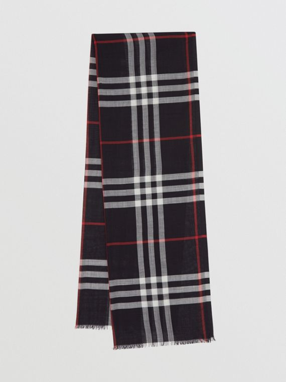 Lightweight Check Wool Silk Scarf in Navy
