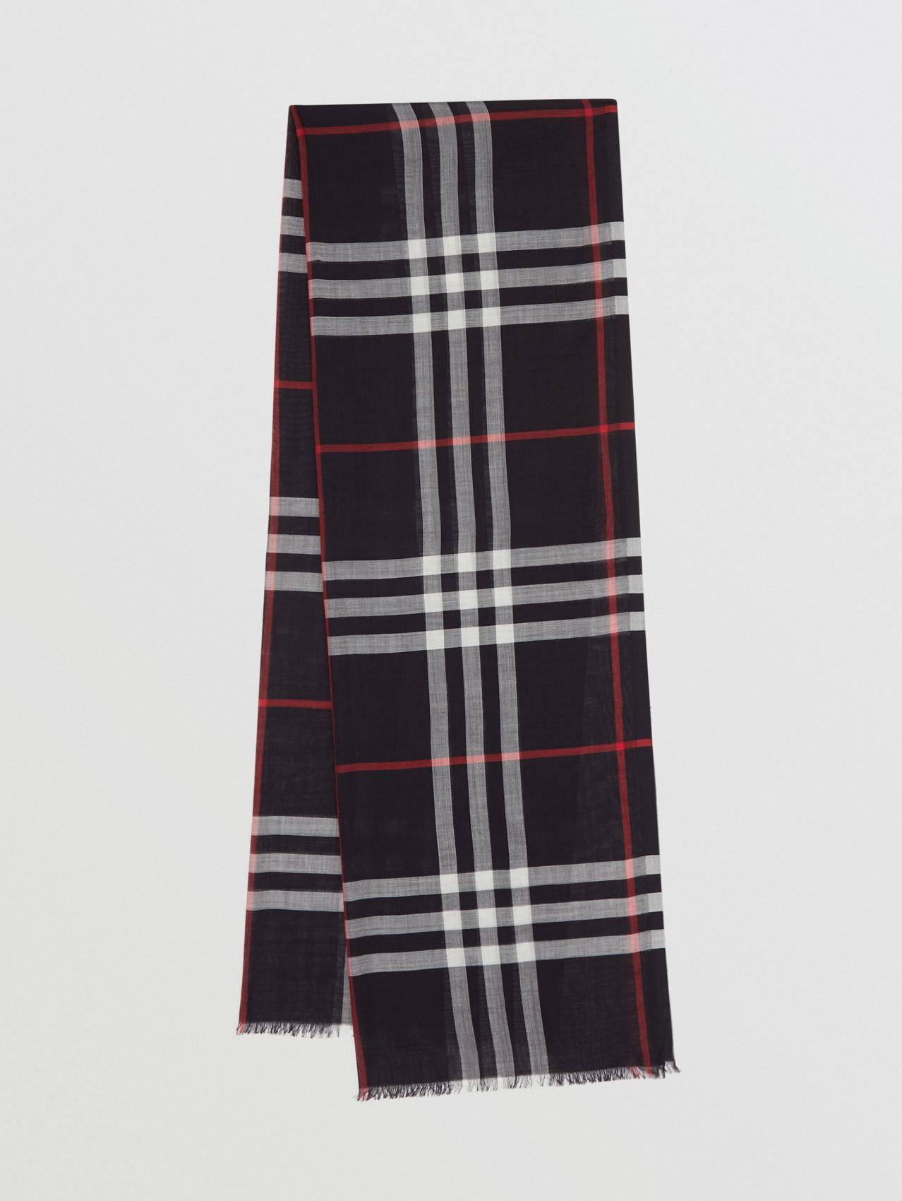 Lightweight Check Wool Silk Scarf (Navy)