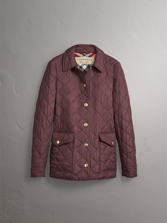 Check Detail Diamond Quilted Jacket in Burgundy - Women | Burberry - cell image 3