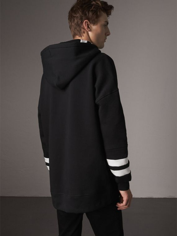 Bold Stripe Detail Oversize Hooded Sweatshirt in Black - Men | Burberry - cell image 2