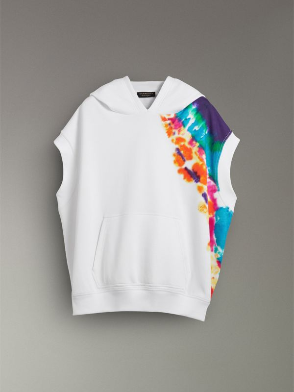 Tie-dye Print Sleeveless Hoodie in Multicolour | Burberry - cell image 3
