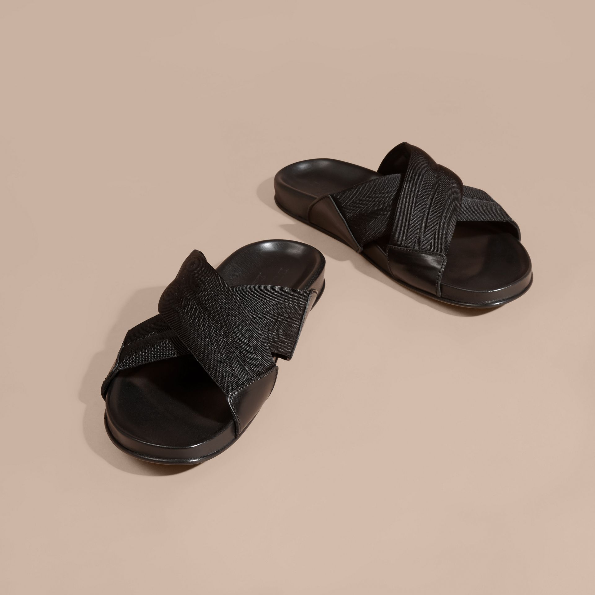Black Check Detail Technical Web and Leather Sandals - gallery image 3