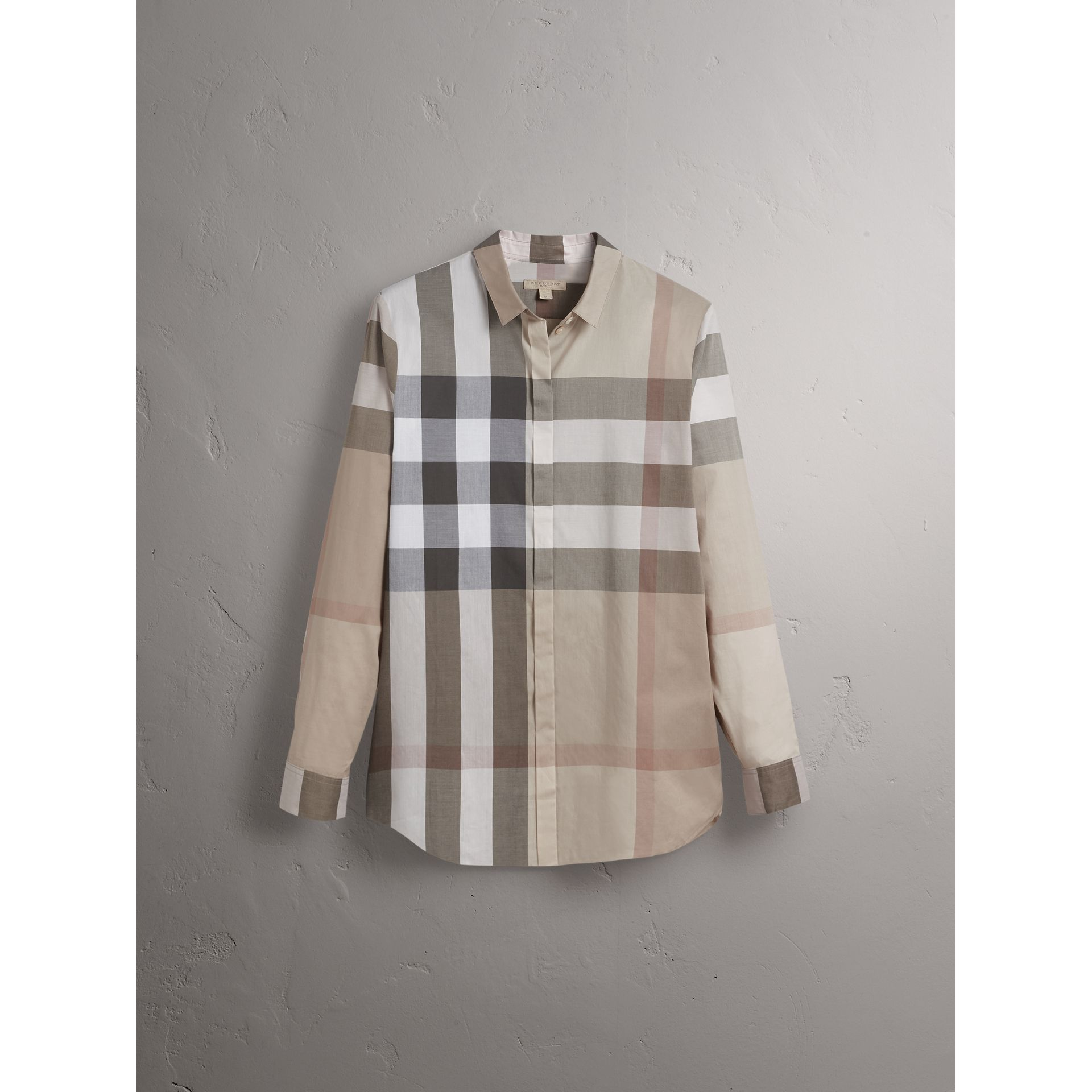 Check Cotton Shirt in Pale Stone - Women | Burberry United Kingdom - gallery image 4