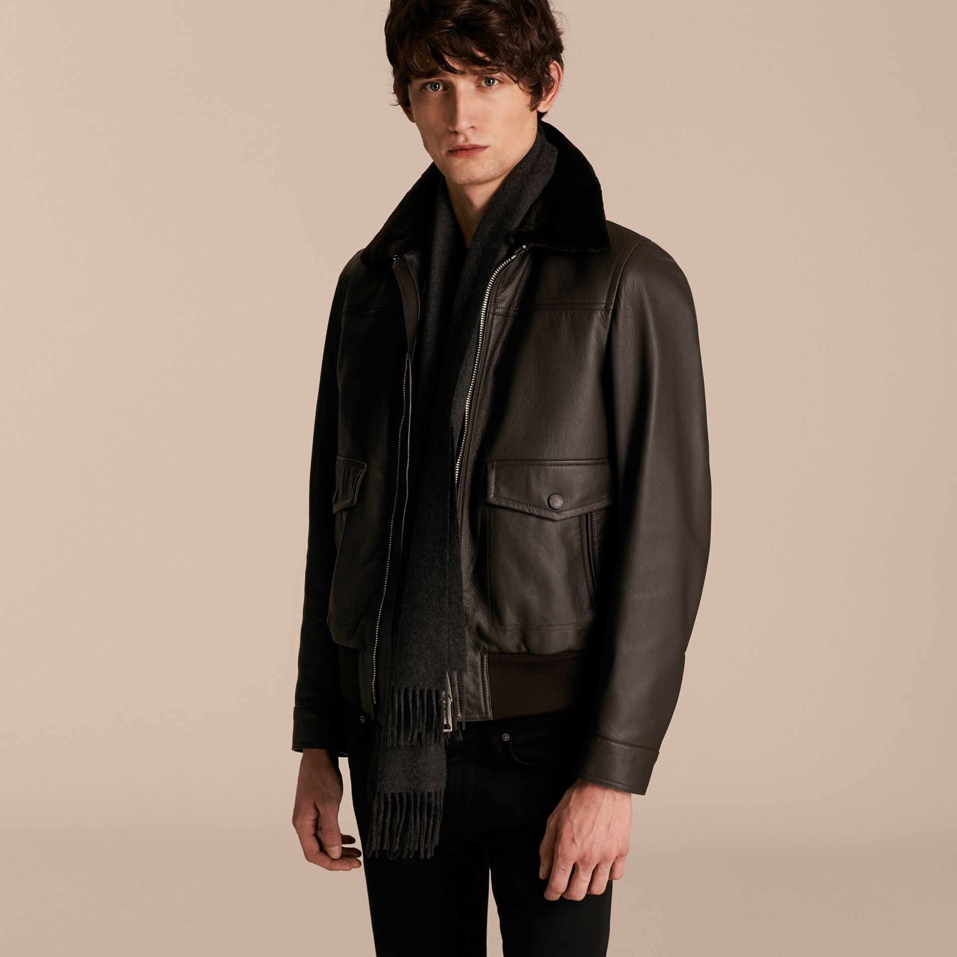 Dark brown Textured Leather Jacket with Detachable Mink Collar - gallery image 7