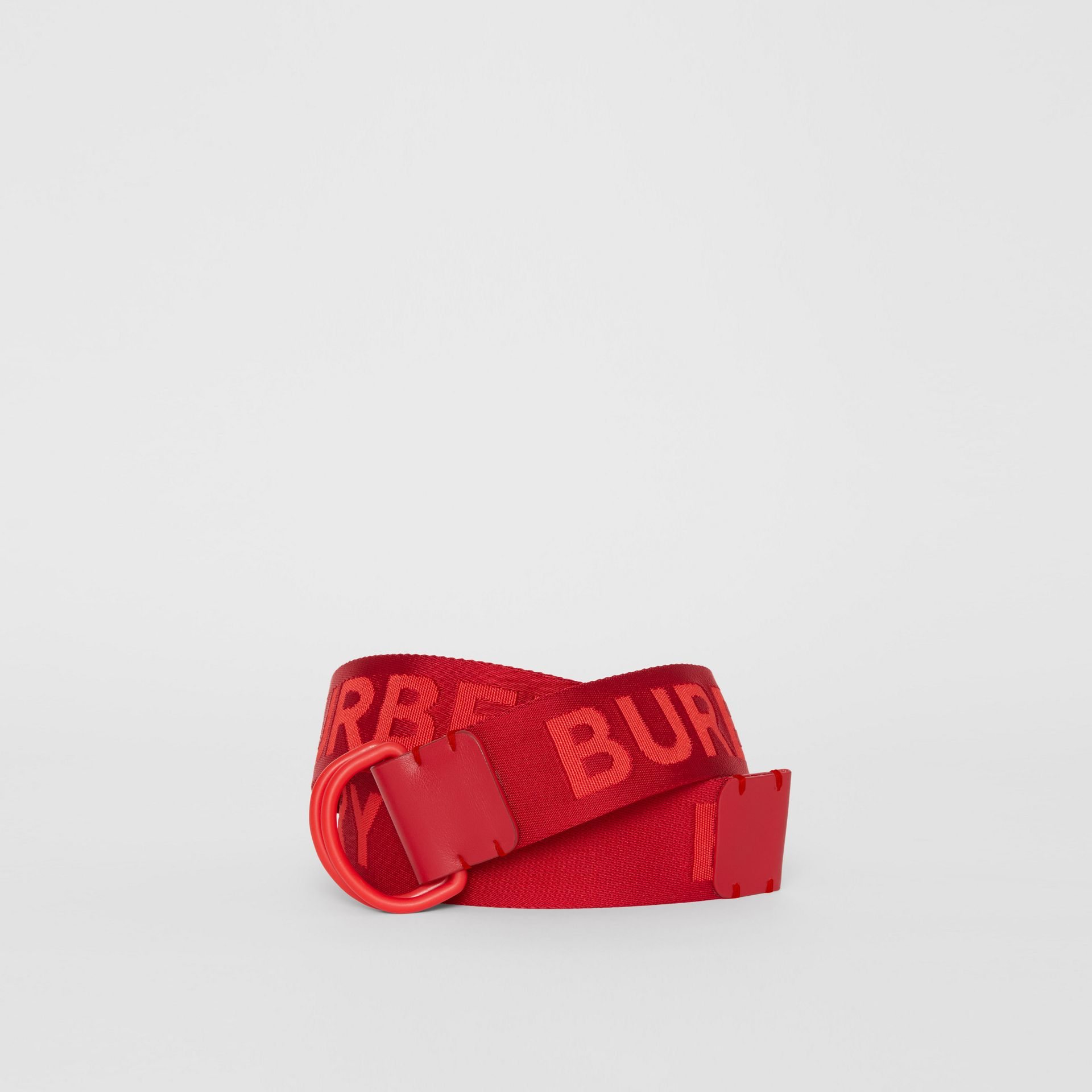 Logo Detail Double D-ring Belt in Bright Red - Men | Burberry Canada - gallery image 0