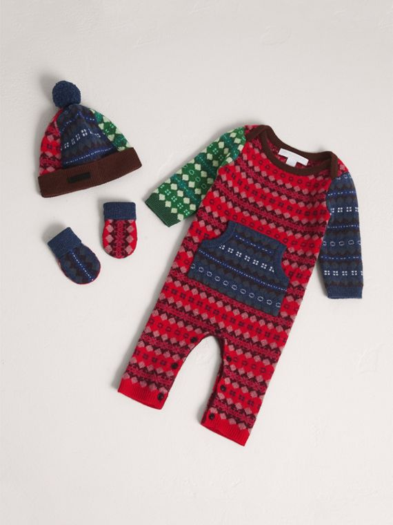 Fair Isle Wool Cashmere Three-piece Baby Gift Set in Rosewood