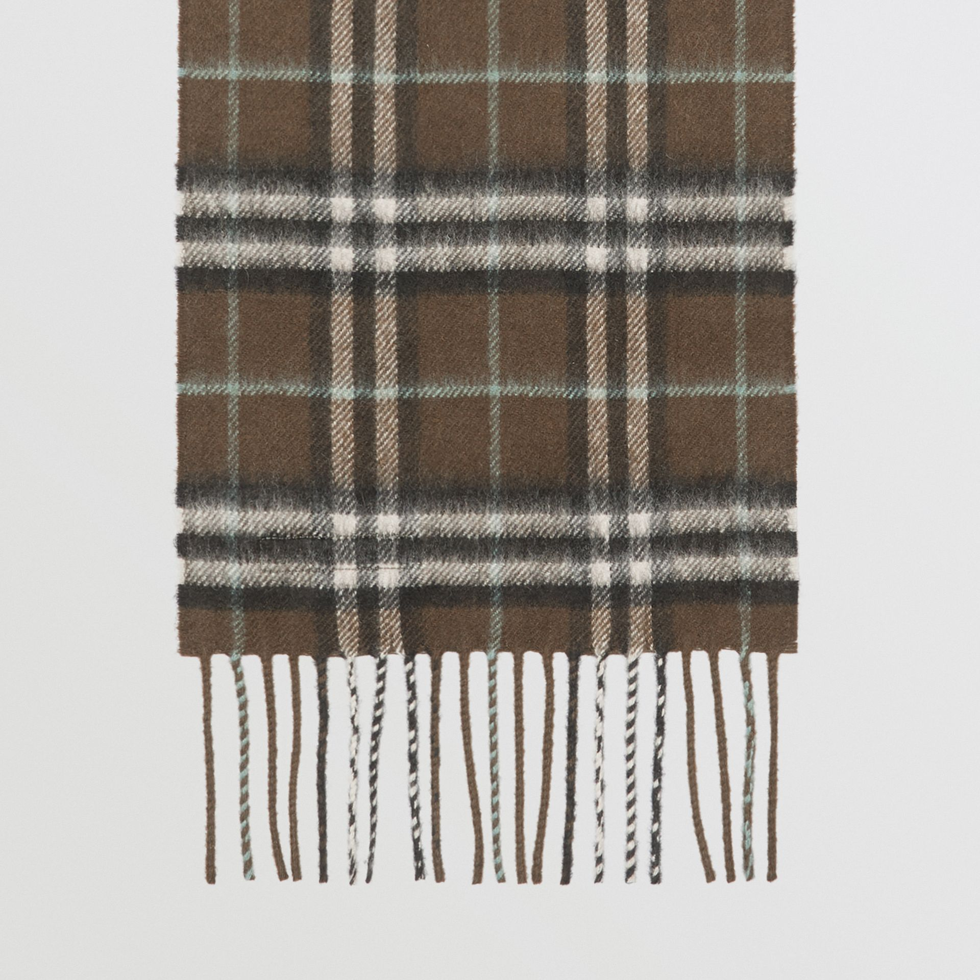 The Mini Classic Vintage Check Cashmere Scarf in Military Brown - Children | Burberry - gallery image 2