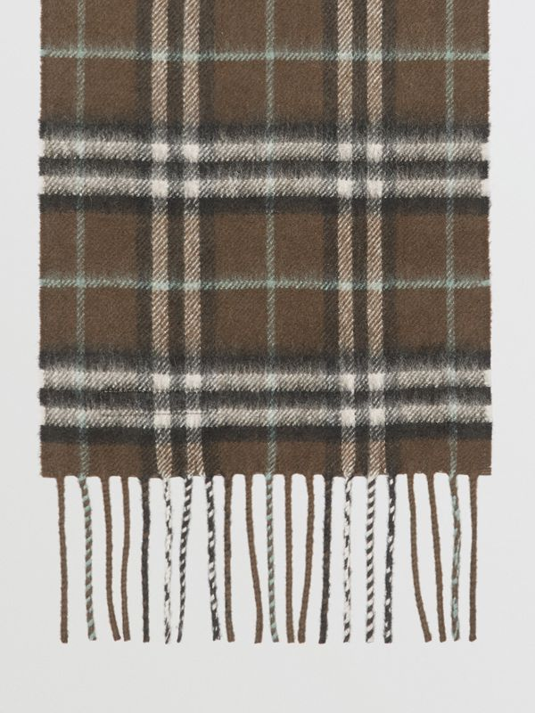 The Mini Classic Vintage Check Cashmere Scarf in Military Brown - Children | Burberry - cell image 2