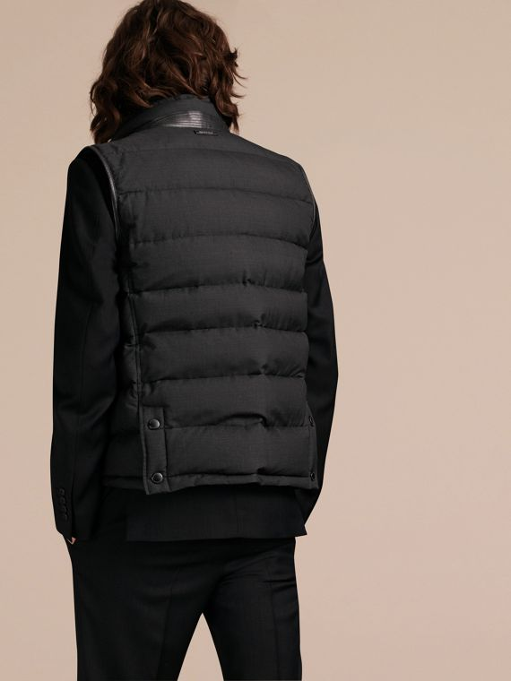 Charcoal Lambskin Trim Down-filled Silk Wool Gilet - cell image 2