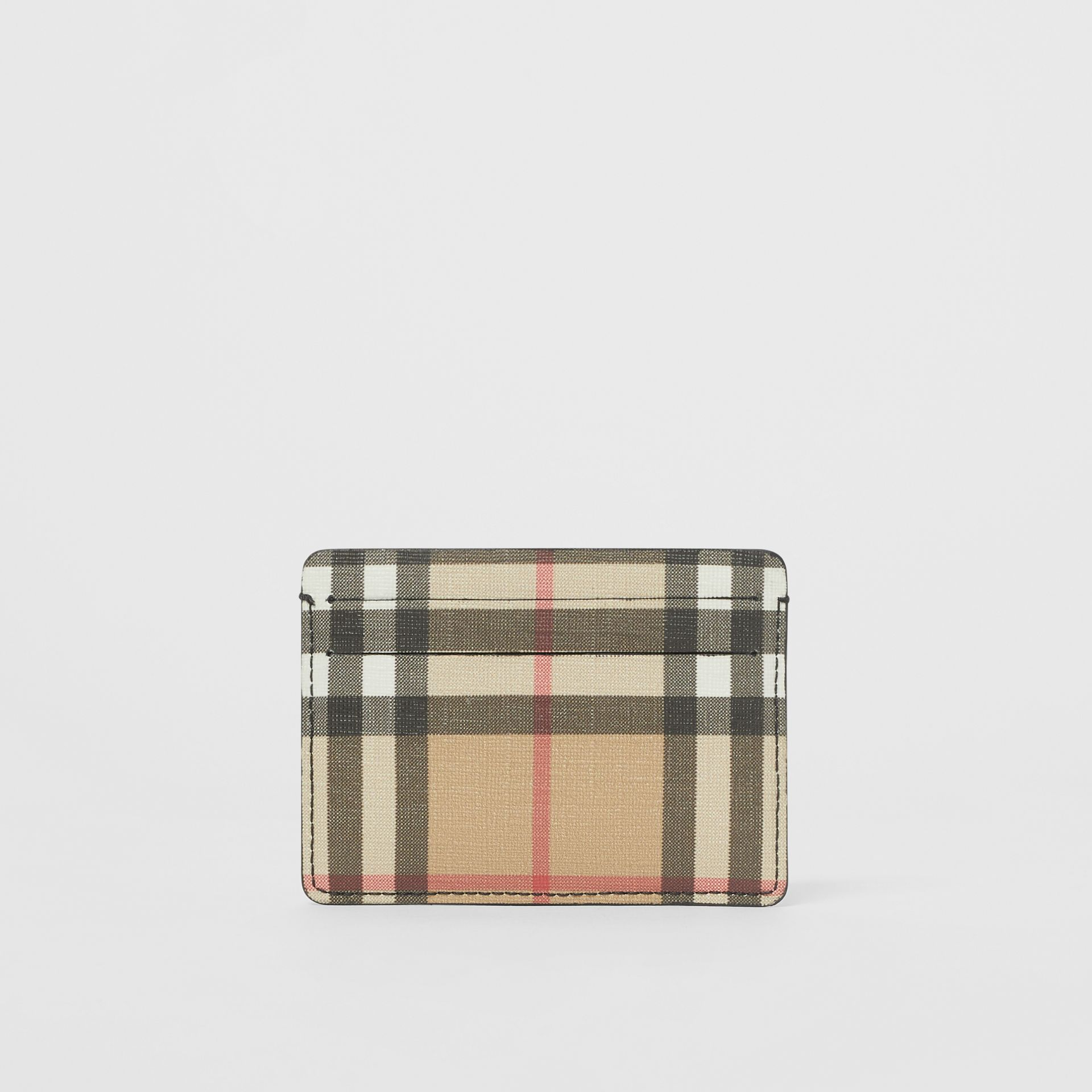 Logo Graphic Vintage Check E-canvas Card Case in Archive Beige | Burberry - gallery image 4