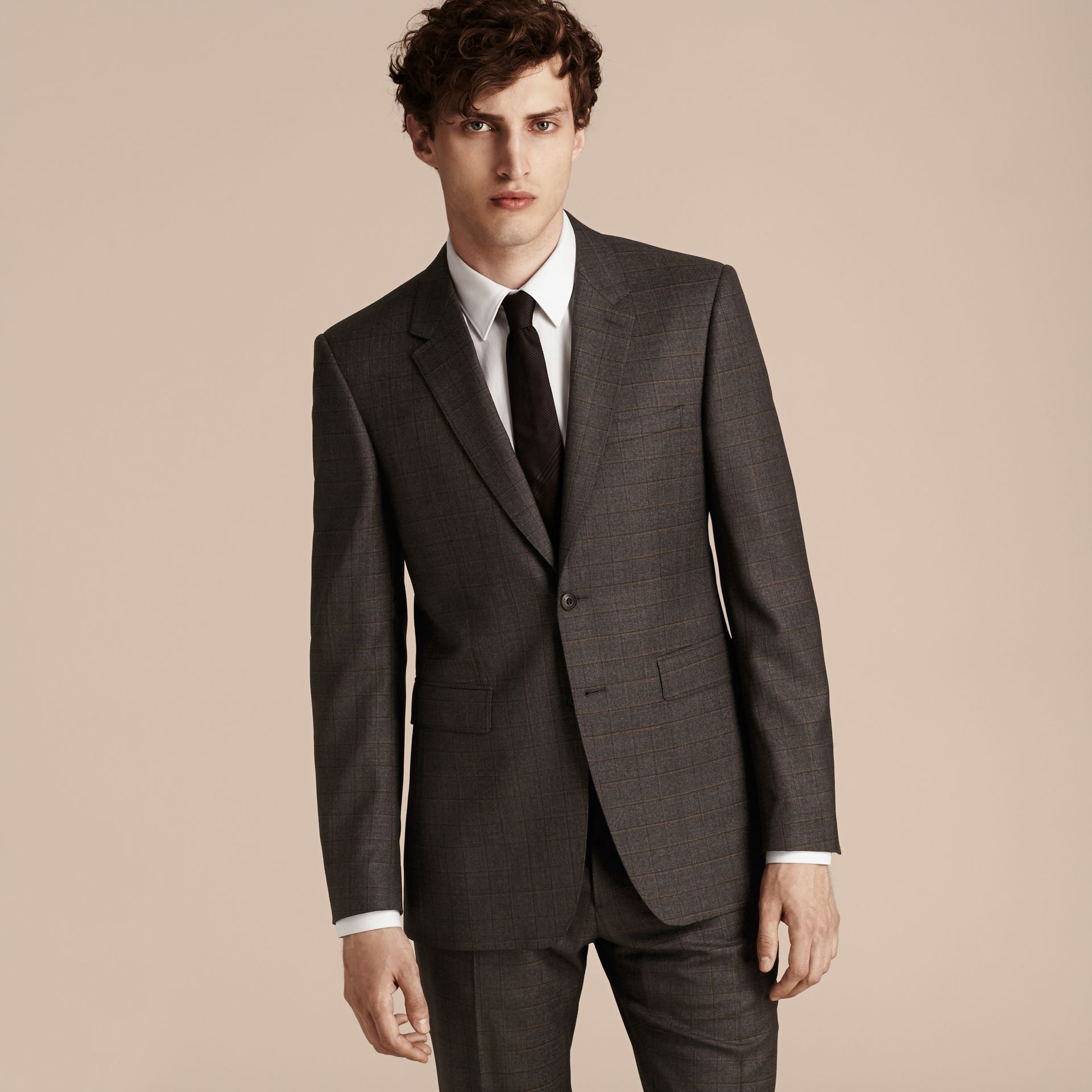 Dark grey melange Modern Fit Check Wool Part-canvas Suit - gallery image 7