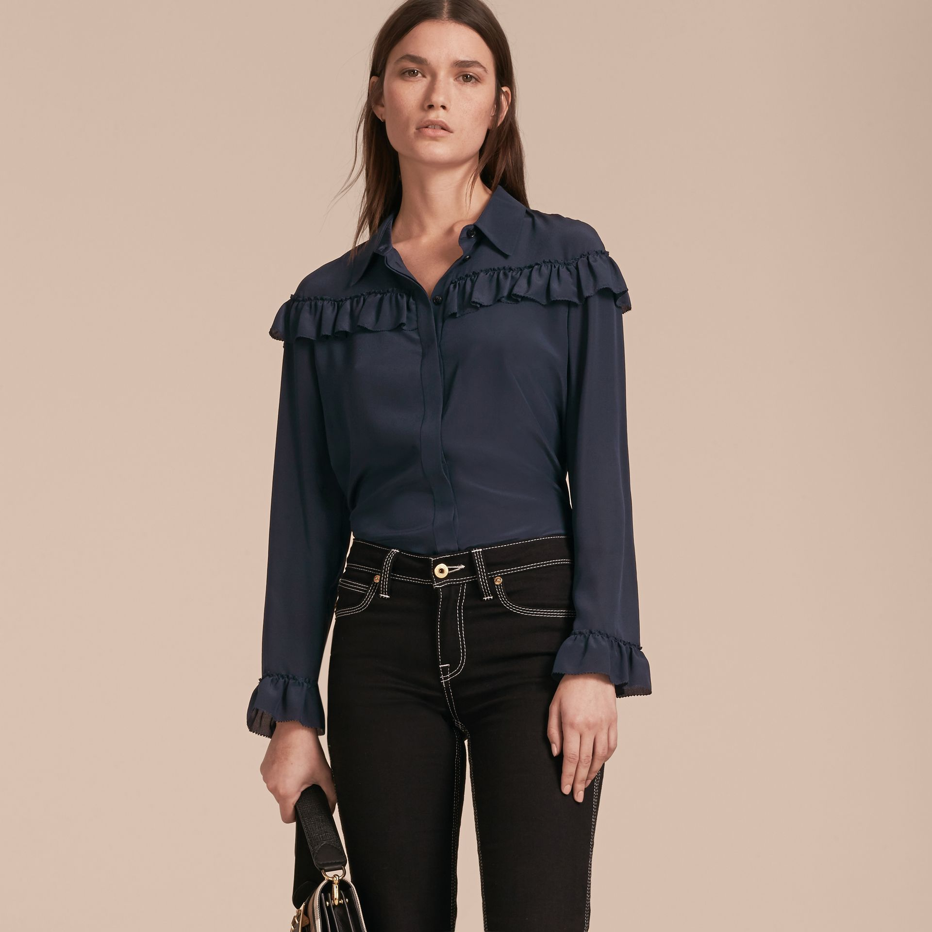 Frill Detail Silk Crepe De Chine Shirt in Navy - gallery image 6
