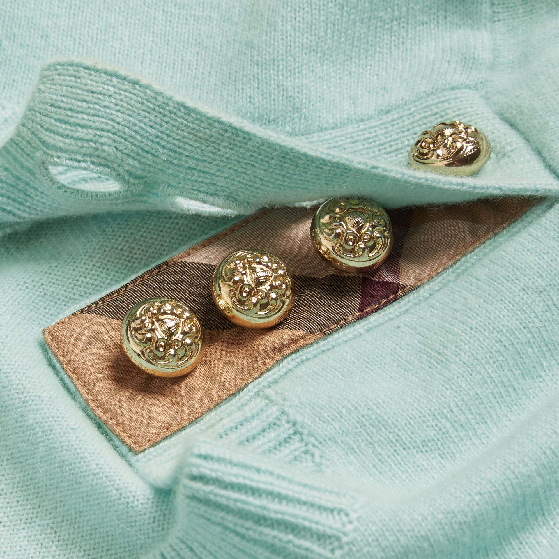Cashmere Sweater with Crested Buttons in Slate Green - gallery image 2