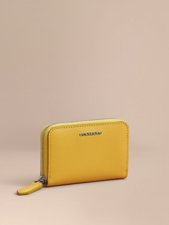 London Leather Ziparound Coin Case in Bright Citrus