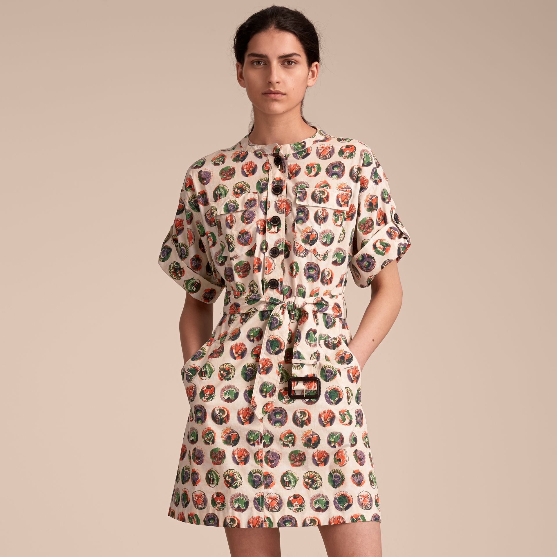 Pallas Heads Print Stretch Cotton Shirt Dress in Natural White - Women | Burberry - gallery image 5