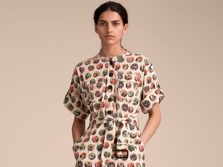 Pallas Heads Print Stretch Cotton Shirt Dress in Natural White - Women | Burberry - cell image 4
