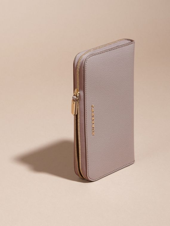 Pale grey Patent London Leather Ziparound Wallet Pale Grey - cell image 2