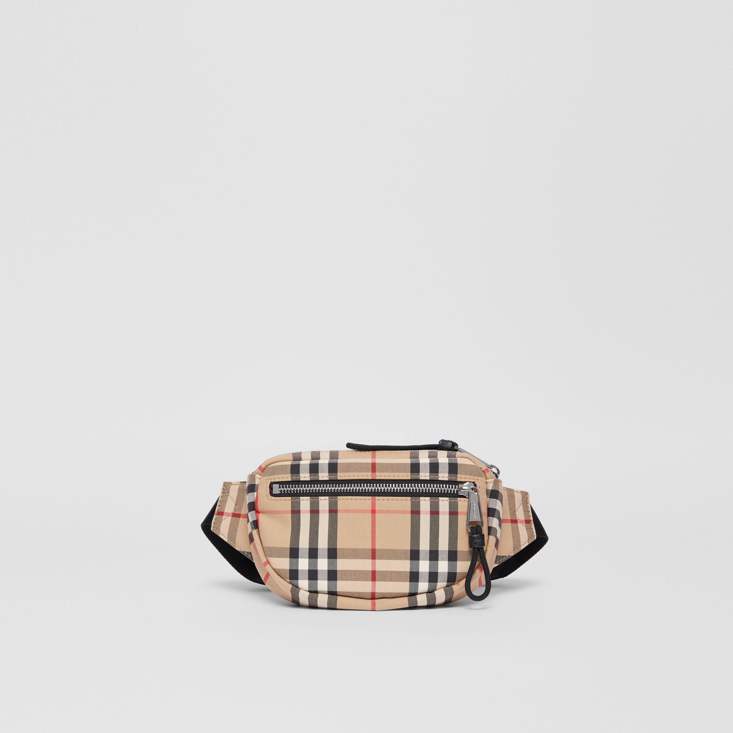 Small Vintage Check Cannon Bum Bag in Archive Beige | Burberry - 1