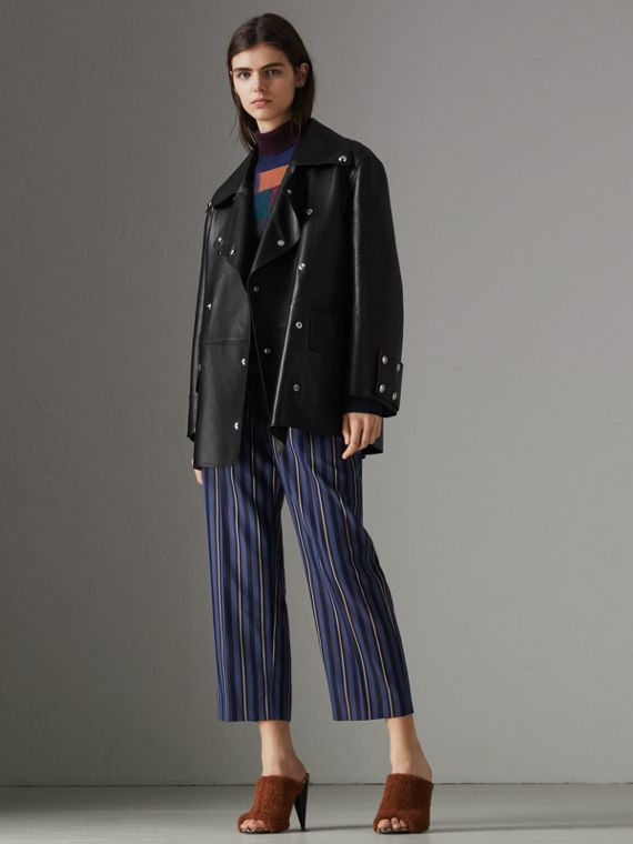 Striped Wool Blend Cropped Trousers in Navy/light Blue