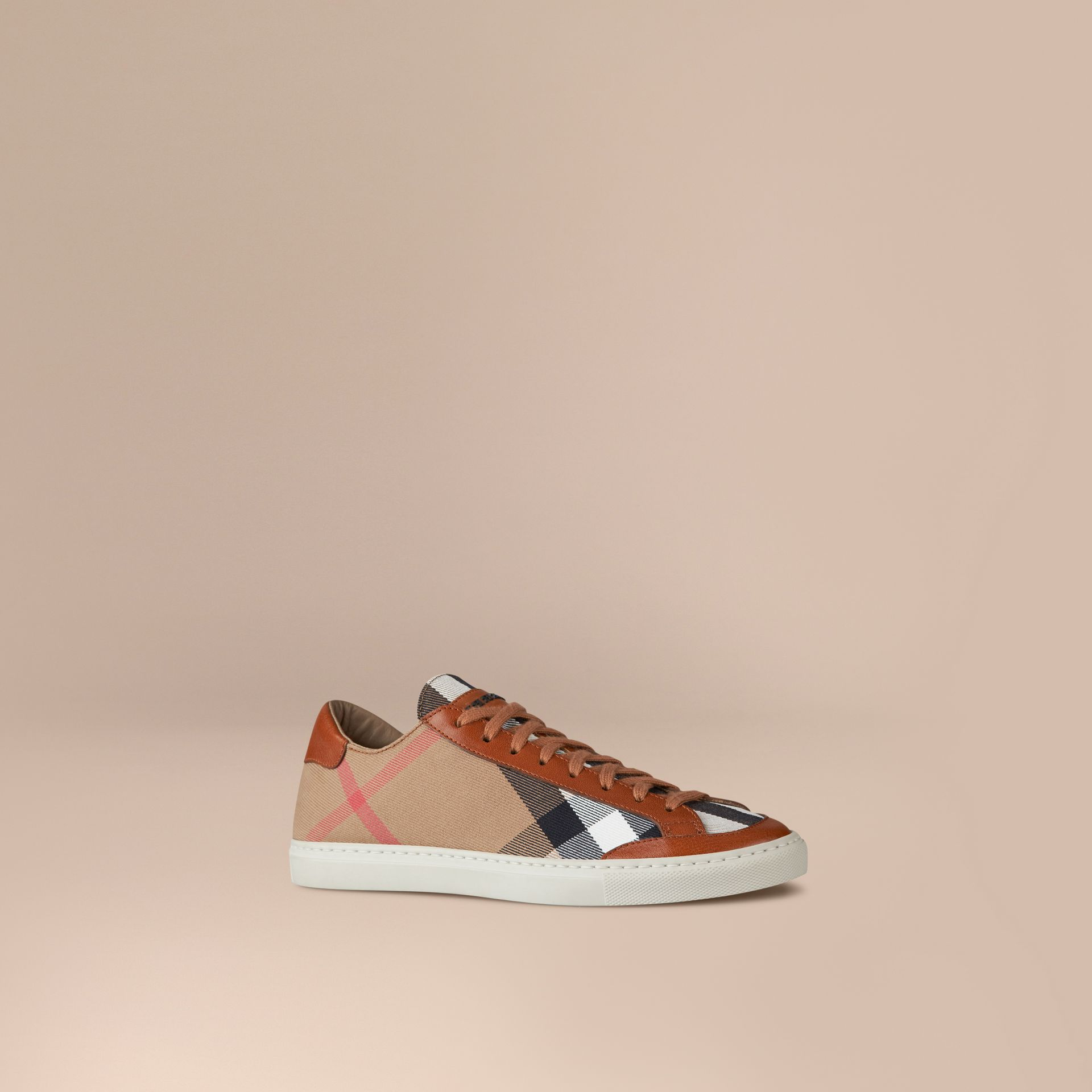Tan House Check Canvas Trainers - gallery image 1