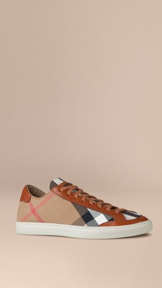 House Check Canvas Trainers