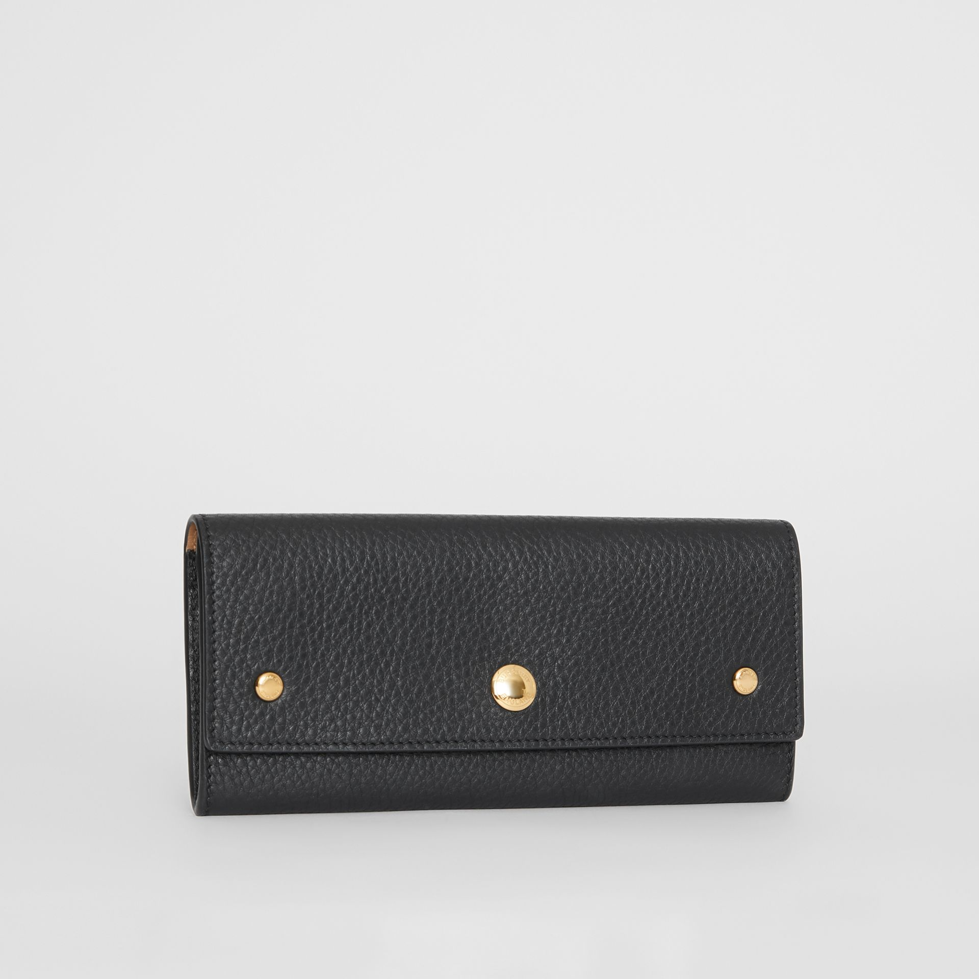 Grainy Leather Continental Wallet in Black - Women | Burberry - gallery image 4