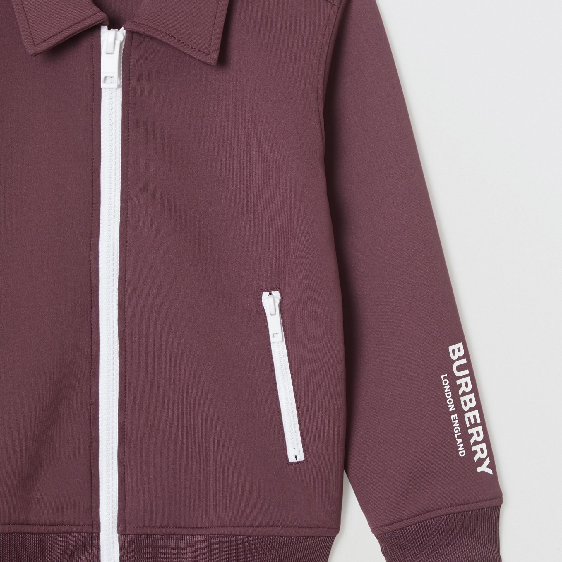 Logo Print Lightweight Track Top in Claret | Burberry - gallery image 5