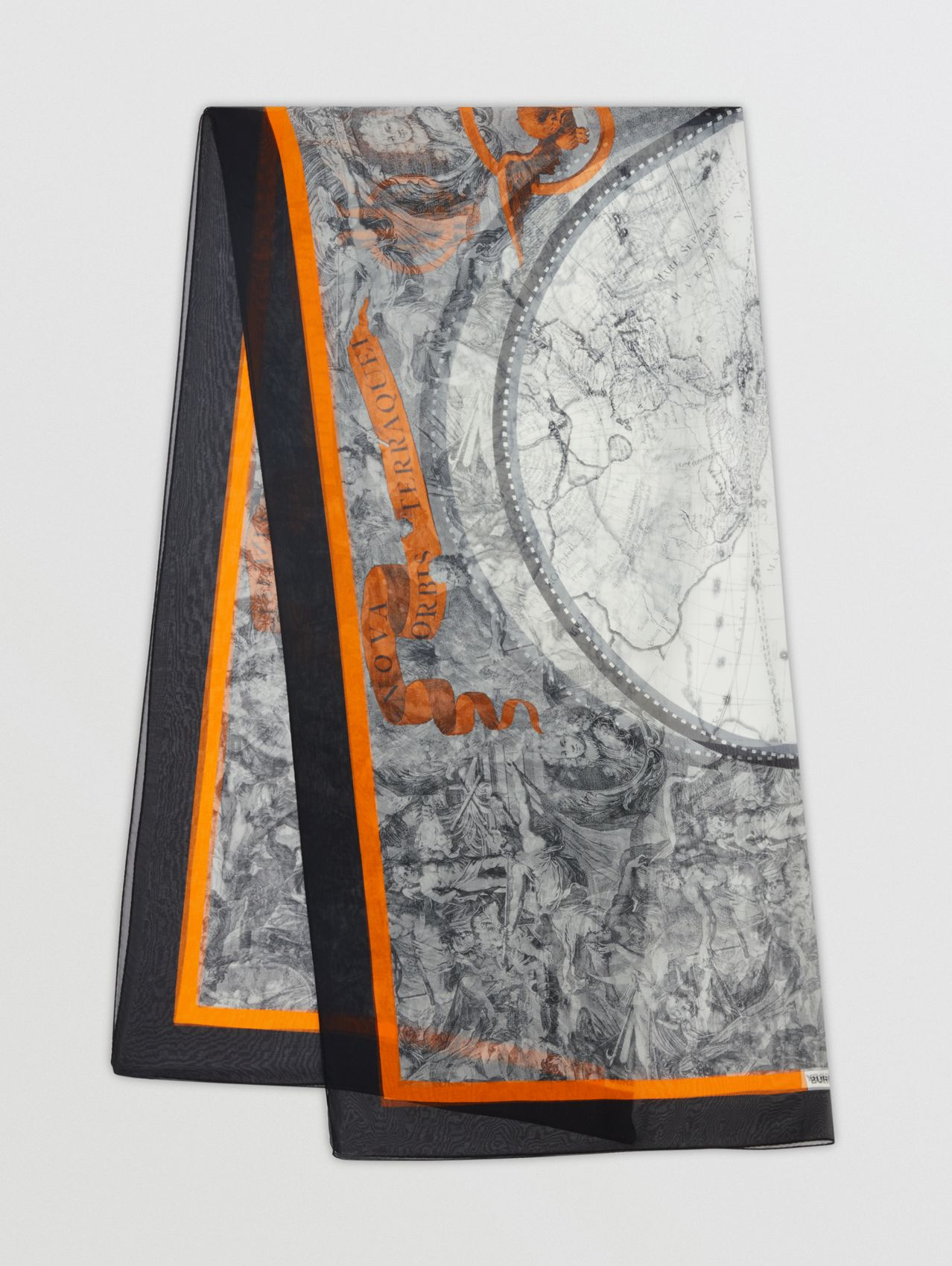 Map Print Silk Chiffon Scarf in Taupe Grey