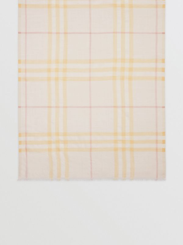 Lightweight Check Wool and Silk Scarf in Primrose - Men | Burberry - cell image 3