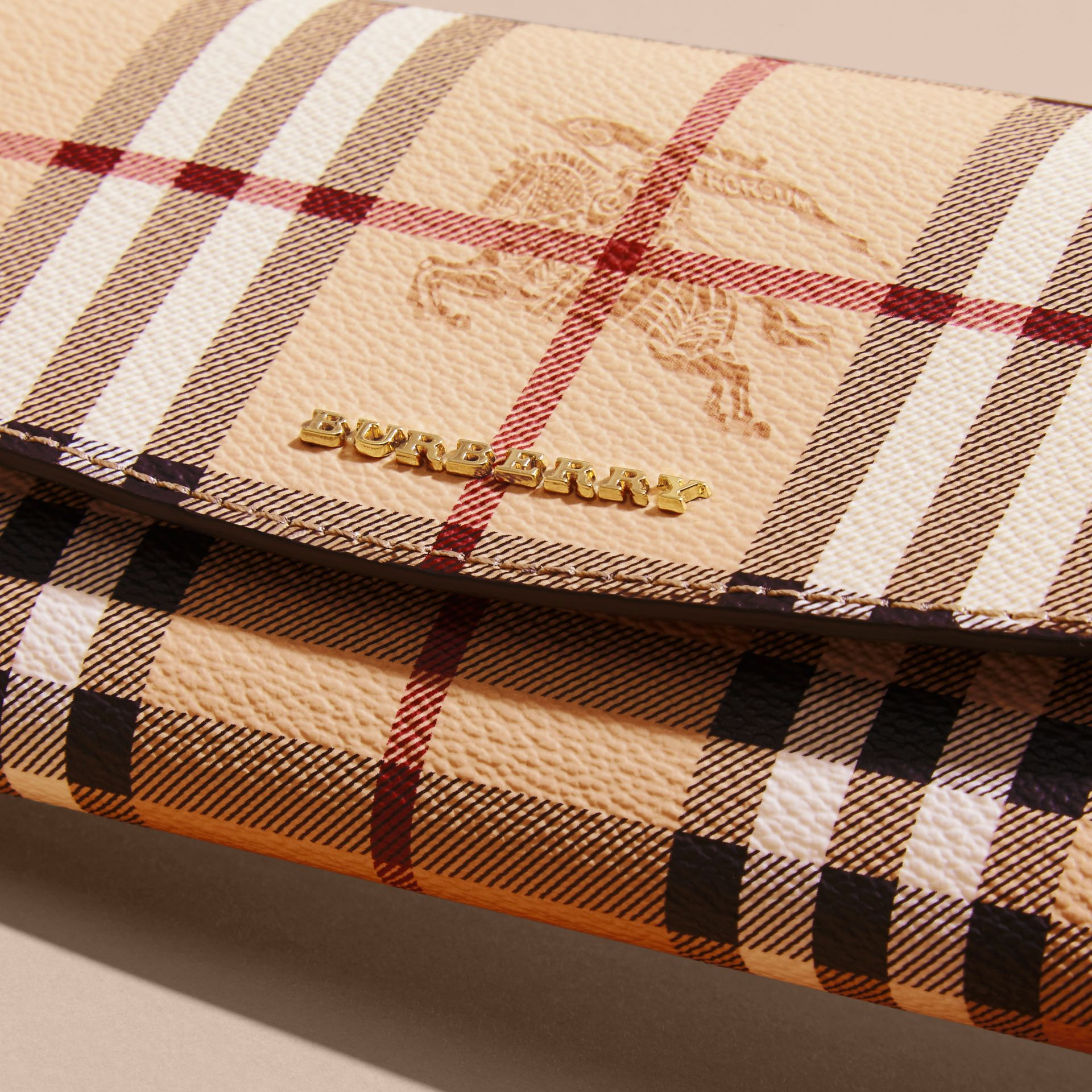 Haymarket Check and Leather Continental Wallet in Tan - Women | Burberry Canada - gallery image 2