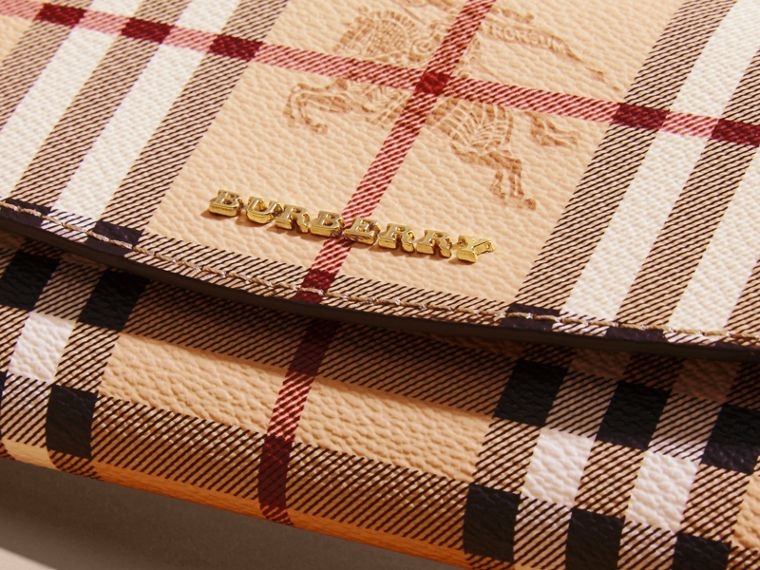 Haymarket Check and Leather Continental Wallet in Tan - Women | Burberry Canada - cell image 1