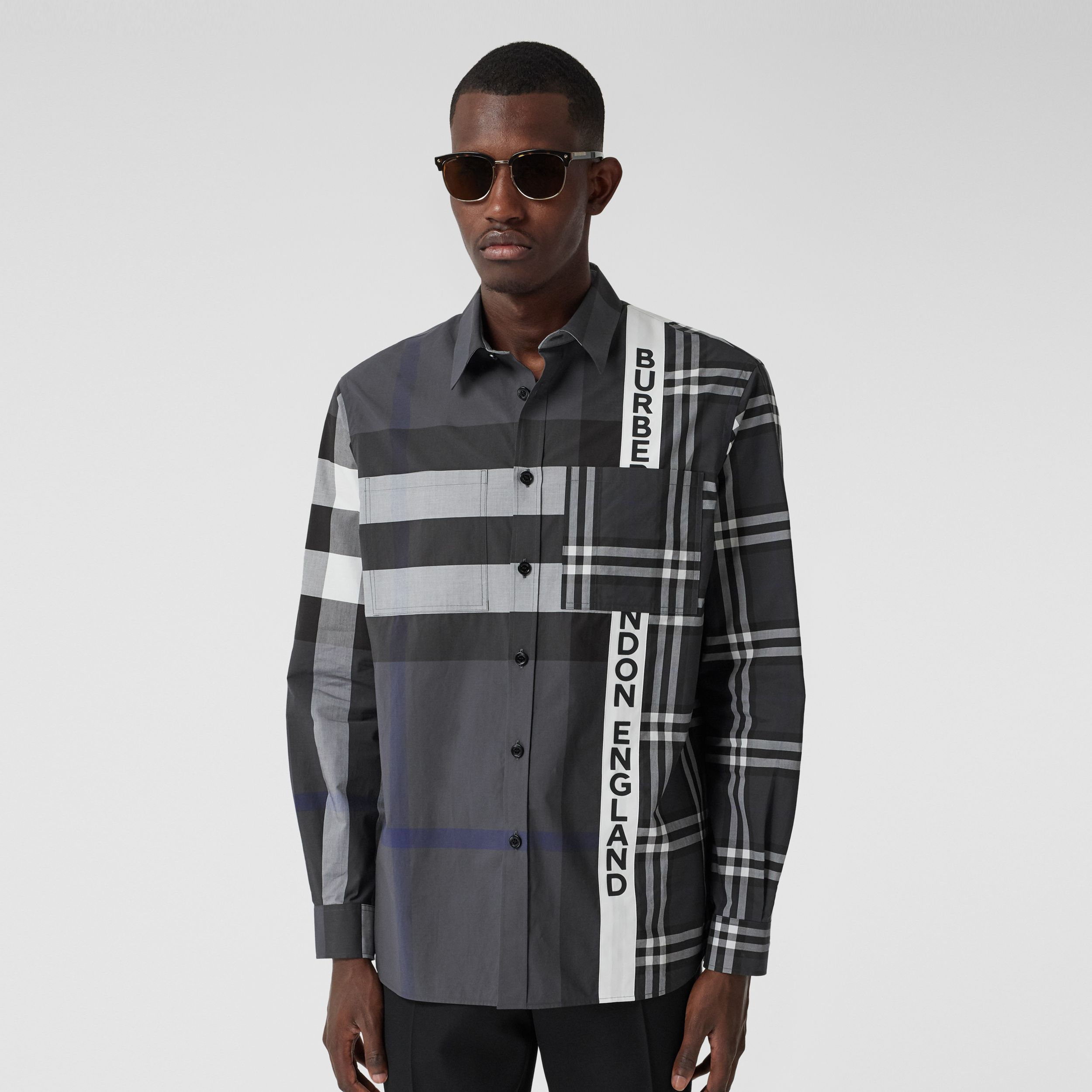 Logo Print Patchwork Check Cotton Oversized Shirt in Dark Pewter - Men | Burberry - 1